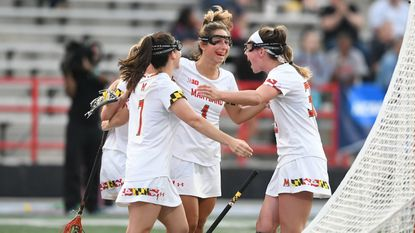 Maryland women's lacrosse players celebrate a goal during their NCAA tournament rout of Denver on Saturday night.