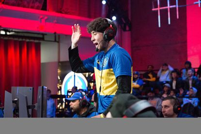 Jin Choe of Warriors Gaming Squad reacts to a play during the game against Pistons Gaming Team on April 10, 2019 at the NBA 2K Studio in Long Island City, New York.