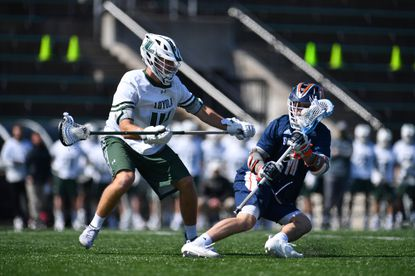 Kyle LeBlanc defends Bucknell's Tommy Sopko during a game March 20, 2021 at the Ridley Athletic Complex.