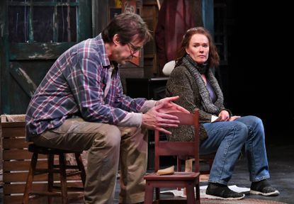 """Everyman Theatre resident company members Kyle Prue and Beth Hylton rehearse """"Be Here Now"""" during pre-COVID-19 times earlier this year."""