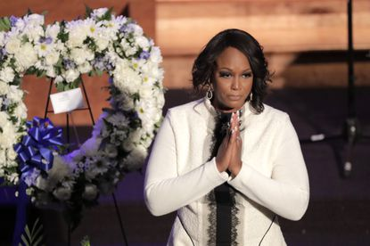 The widow of U.S. Rep. Elijah Cummings says she is considering running for his 7th congressional district seat in a special election that has several candidates jumping into the race or promising to announce their plans soon. This file photo shows Rockeymoore Cummings at the funeral Oct. 25 for her husband.