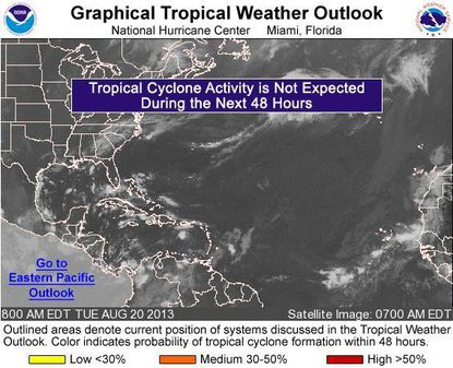 The tropics are expected to stay quiet this week, according to the National Hurricane Center.