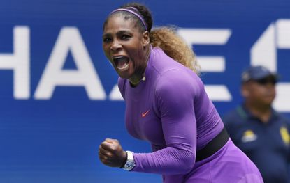 Serena Williams, of the United States, reacts during her match against Petra Martic, of Croatia, during round four of the US Open tennis championships Sunday, Sept. 1, 2019, in New York. (AP Photo/Sarah Stier)