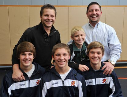 The Kilcarr family has six sons, who all wrestled -- or currently wrestle. In the front row, from left to right, are Trent, Mason and Troy. In the back row, from left to right, are Bryce, Reese and Payton.