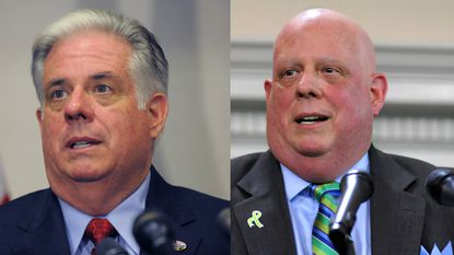 Larry Hogan wants to know: do you prefer him with hair (left) or without (right)?
