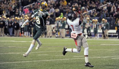 Franklin wide receiver Steven Smothers beats Damascus free safety Maurice Gaines for a touchdown during the MPSSAA Class 3A Championship.