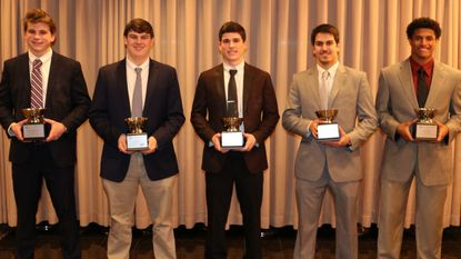 Football scholar athlete award winners include: Alexander Gresock (Havre de Grace), Jacob Tribull (St. Mary's), Justin Pellicciotti (Liberty), Alexander Simet (Towson) and Wande Owens (Glenelg).