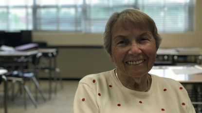 Edith Cord, a Holocaust survivor, spoke to seventh-graders at Catonsville Middle School on Monday about her experiences fleeing the Nazis as a child.