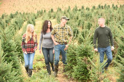 Owners of Jarrettsville Nurseries at Holy Cross Road, Dana Saulsbury, second from left, and her children, from left, Ellie, Brandon and Tommy at the tree farm.
