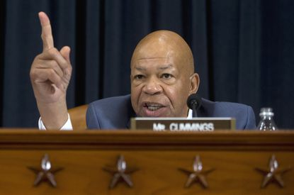 Rep. Elijah Cummings, D-Md., ranking member on the House Benghazi Committee, speaks on Capitol Hill in Washington, Thursday, Oct. 22, 2015, where Democratic presidential candidate, former Secretary of State Hillary Rodham Clinton testified. (AP Photo/Carolyn Kaster) ORG XMIT: DCCK143