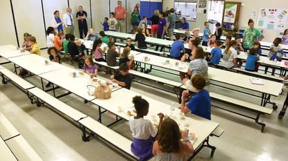 Lunch at the Robert Moton Elementary School Tuesday. Carroll County Public Schools are offering free lunch and breakfast to kids in Taneytown and Westminster this summer, with federal funding from the US Department of Agriculture.