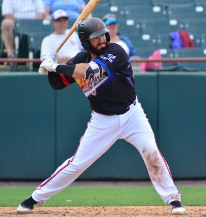 Orioles catching prospect Brett Cumberland takes a swing during a game with the Bowie Baysox in 2019.