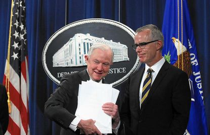 Jeff Sessions, left, fired deputy FBI director Andrew McCabe (shown with the attorney general last year) for misconduct two days before he would have been eligible for full retirement benefits.