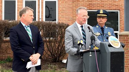 County Executive Allan Kittleman, left, Superintendent Michael Martirano, center, and Chief of Police Gary Gardner, right, at a press conference on March 27 to announce new school security initiatives, including adding schools to officers' foot patrols.
