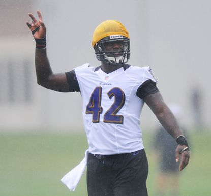 Ravens linebacker Nigel Carr is seen during one of the team's preseason workouts.