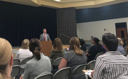 Howard schools Superintendent Michael Martirano answers questions during a special education town hall at Wilde Lake Middle School on Monday, Oct. 7, 2019.