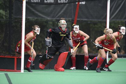 Maryland field hockey goalie Noelle Frost (1), a Glenelg graduate, was named the national Defensive Player of the Week.