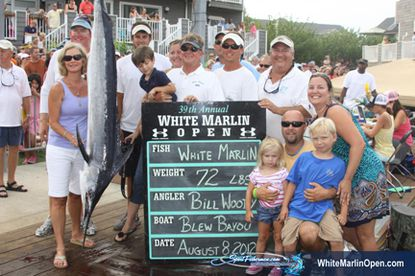 Pasadena's Bill Woody and his crew aboard Blew Bayou caught a 72-pound white marlin in Ocean City's annual White Marlin Open in 2012.