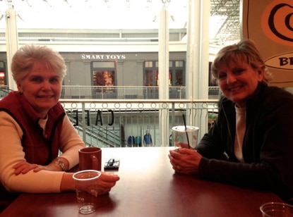 County Council member Mary Kay Sigaty, left, and friend Joan Lancos got their usual coffee at Panera Tuesday morning at The Mall in Columbia.
