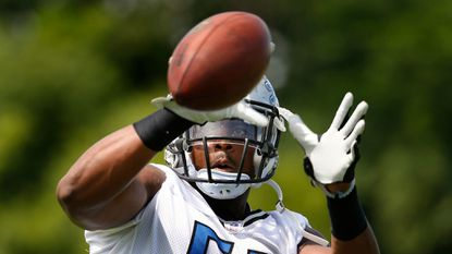 Lions defensive end Brandon Copeland catches a ball during practice in Allen Park, Mich., in 2016.