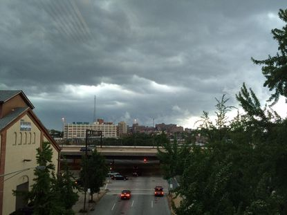 Storm clouds appear over East Baltimore.