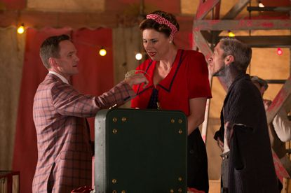 "L-R: Neil Patrick Harris as Chester, Erika Ervin as Amazon Eve, Mat Fraser as Paul the Illustrated Seal on ""American Horror Story: Freak Show."""