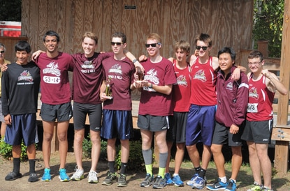 The HCC men's cross country team poses together following the Greensboro Invitational