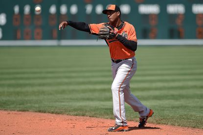 Orioles second baseman Jonathan Schoop makes a throw to first base during the fifth inning of a spring training game against the Pittsburgh Pirates at McKechnie Field on March 15, 2015 in Bradenton, Fla.