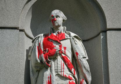 A statue of George Washington near the entrance of Druid Hill Park was defaced over the weekend as the nationwide protests over the police custody death of George Floyd continue.