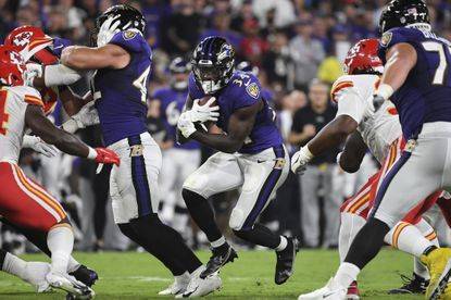 Baltimore Ravens running back Ty'Son Williams (34) runs the ball during the first half of an NFL football game against the Kansas City Chiefs, Sunday, Sept. 19, 2021, in Baltimore. (AP Photo/Terrance Williams)