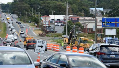 Construction continues on Rt. 22 near Harford Community College at the intersection of Thomas Run and Shucks Roads in Bel Air.