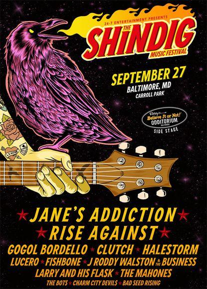 Jane's Addiction, Rise Against to headline Shindig Music Festival