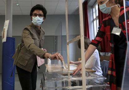 Rachida Dati , the conservative candidate in Paris second round of the municipal elections, casts her ballot on June 28, 2020 in Paris.