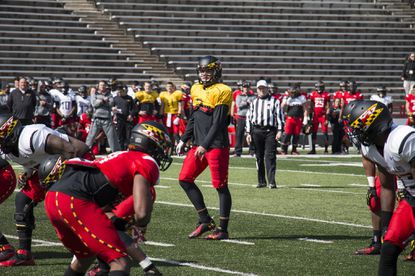 Maryland quarterback Shane Cockerille (Gilman) is pictured during spring practice in 2015. Photo courtesy of Maryland athletics.
