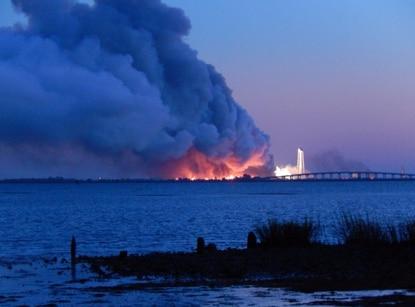A rocket launch failed at Wallops Island, Va. Tuesday evening.