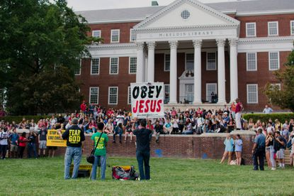 Hundreds Of University Of Maryland Students Wage Counterprotest Against Controversial Religious Group Baltimore Sun
