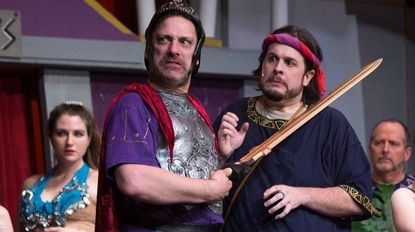 """From left, Rich Greenslit as Miles Gloriosus and Bob Gudauskas as Pseudolus in """"A Funny Thing Happened on the Way to the Forum."""""""