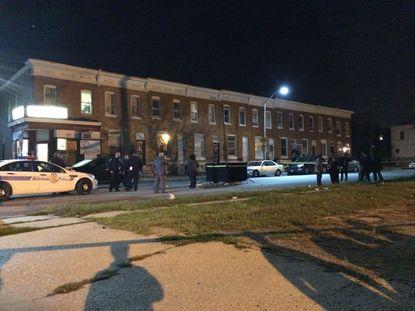 Scene of shooting Wednesday night on S. Catherine Street in the Shipley Hill neighborhood of southwest Baltimore.