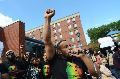 "Mitchell Brunings, who plays Bob Marley in Center Stage's forthcoming production, ""Marley,"" sang at a free concert."