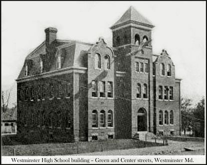 Westminster High School, in 1908, at the corner of E. Green and Center Streets. Opened in 1898, it served as a high school until Nov. 30, 1936, when it became East End Elementary School. Belle Fringer taught first grade there from 1949 into the 1970s.