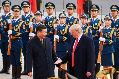 China's President Xi Jinping and U.S. President Donald Trump shake hands during a meeting outside the Great Hall of the People in Beijing.