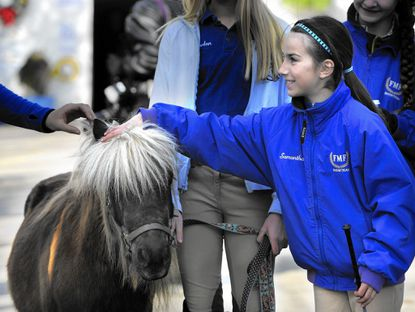 Samantha Gilley, 10, pets the miniature horse at Full Moon Farm during the kick off of the Maryland Horse Chase on Monday, near Gamber.