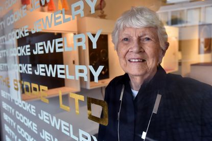 Betty Cooke, owner of The Store Ltd., and one of the first tenants at The Village of Cross Keys when it opened in 1965. She is renowned for her modern jewelry designs. July 17, 2020. (Amy Davis/Baltimore Sun).