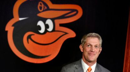 Mike Elias, named the Orioles executive vice president and general manager, smiles during a press conference at Camden Yards on Monday. Elias, a native of Alexandria, Va., was previously the assistant general manager with the Houston Astros.