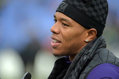 Former Ravens running back Ray Rice during pregame before the Ravens face the Bengals.