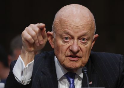 Former National Intelligence Director James Clapper testifies on Capitol Hill in Washington on May 8, 2017, before a SenateJudiciary subcommittee.