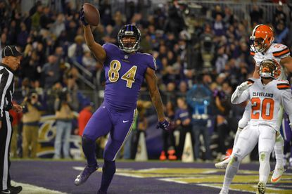 Ravens tight end Darren Waller celebrates his touchdown against the Cleveland Browns during the third quarter in Baltimore.
