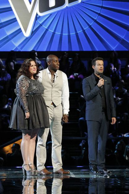 """L-R: Erin Willet, Jermaine Paul, Carson Daly on """"The Voice."""""""