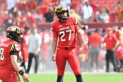 Maryland kicker Joseph Petrino lines up for a field-goal attempt against Texas on September 1, 2018.