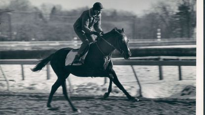 Kathy Kusner doing a morning working out at Pimlico in 1968.